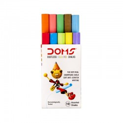 DOMS DUSTLESS COLOURED CHALKS(10 ASSORTED SHADES)